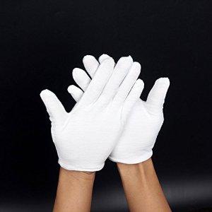Gants En Coton Blanc; Non Pelucheux Pour Les Fanfares, Les Tenues De Cérémonie Ou L'Eczéma. Gants Souples Pour La Manipulation De Bijoux Ou De Photos. Taille Unique.