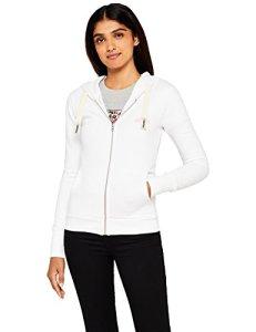 HIKARO Sweat-Shirt Zippé à Capuche Femme, Blanc (White), 42 (Taille fabricant: Large)