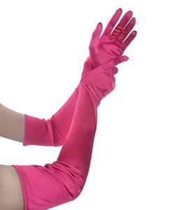 Jisen Longs gants formels, pour mariage et fêtes, en satin, 55,9cm, pour femme – Rouge – Taille unique