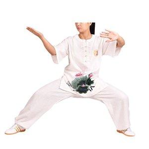 KIKIGOAL Femmes Linge de Coton Tai Chi Costume à Manches Courtes Arts Martiaux Kung FU Vêtements ( Un Ensemble ) (Blanc, M)