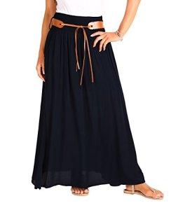 KRISP 4809-BLK-ML, Femme Jupe Longue Plissée Maxi Boho, Noir (4809), M/L