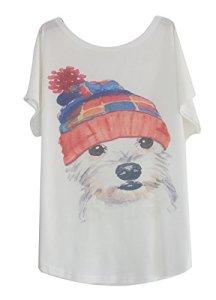 Luna et Margarita T-Shirt Femme Blanche Manche Chauve-Souris à Motif Col Rond Coton Mélange Motif Chien à Chapeau en Tricot Taille s pour 36 38