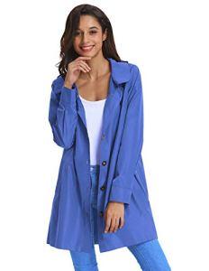 Manches Longues Veste de Pluie Femme Bleu Conception à Capuche S KK822-4