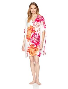 Natori Women's Printed Charmeuse Tunic, Warm White, XS