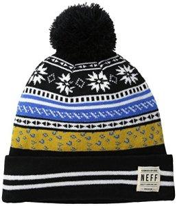 NEFF Women's Leah Fold Beanie with Jacquard Pattern, Black, One Size