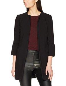 New Look Collarless Crepe Frill SLV, Manteau Femme, Noir (Black 1), 38