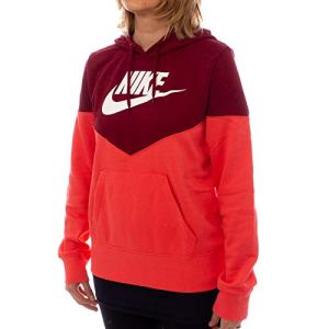Nike W NSW Hrtg Hoodie FLC Sweat-Shirt Femme – ember glow/Team red/White – M