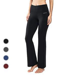 Ogeenier Femme Pantalon de Yoga Taille Haute en Coton avec Poches Bootcut Pantalon de Sport Pilate Causal – NOIR – TAILLE XL