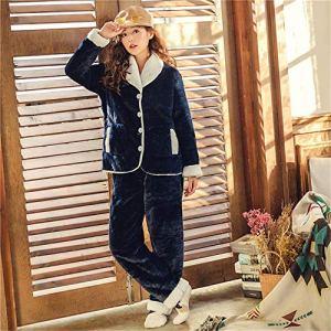 PAJAMASX Pyjama, Dames De Flanelle Mignon Hiver Chaud Rembourré Costume De Service À Domicile Fraise Cardigan À Manches Longues, Xl162-168Cm / 58-65Kg
