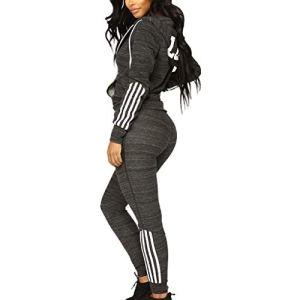 Piebo Femme Rayé Serré Hooded Sweat Loisir Slim Manche Longue Hoodie Veste Mode Tracksuit Top Jogging Gym Sportswear Suit Zipper Legging Capuche +Pantalons Ensemble Survêtement 2 Pcs Combinaisons