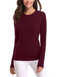 Pull Femme Col Rond Manches Longues Tops Femme Pull Basique Femme Automne Winter Pull Femme sous Pull Confort Femme Chic, Vin Rouge * Col Rond, XL