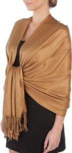Sakkas 198cm x 71cm Touché soyeux Couleur Unie Type Pashmina Châle/Echarpe/Etole – Bronze