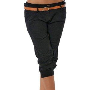 ShallGood Femme Pantalons 3/4 Pantacourt Legging Casual Eté Capri Bermudas Short Taille Elastique Jogging Sport Pantalons Noir Medium