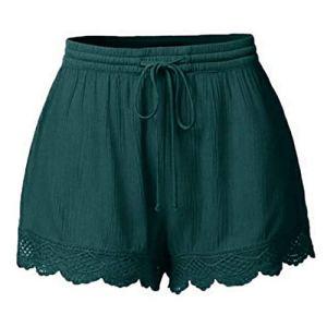 Short Femmes,ITISME Mode Été Hot Pantalons Femmes Dentelle Grande Taille Corde Attacher Shorts de Yoga Pantalons de SportJambières S-5XL (XL, Vert)