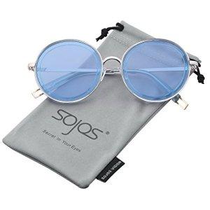 SOJOS Lunettes de Soleil Oversize Rond Métal Moderne pour Femme SJ1076 avec Bleu Cadre/Bleu Lentille
