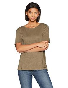 Splendid Women's Short Sleeve Crew Neck, Military Olive, L