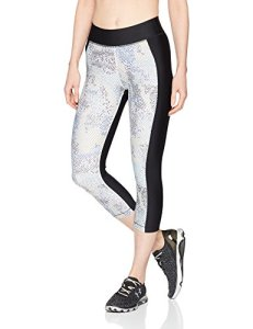 Under Armour Women's HeatGear Armour Print Capris, Black (001)/Metallic Silver, Small