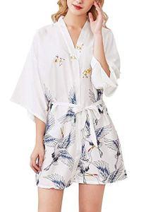 Uniquestyle Femme Kimono Robe de Nuit Peignoir Satin Fleurs Paon Vêtements Chemise de Nuit (Blanc2, M)