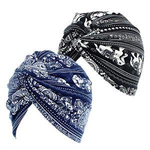 2pcs Bonnet Turban Chimio Femme Nœud Coton Stretch Chapeaux Bandeau Imprimé Elégant Mode Musulmanes pour Perte de Cheveux Cancer Sortie Vacances