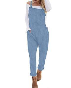 ACHIOOWA Femme Large Salopette Ample Harem Sarouel Casual Jumpsuit Pantalon Combinaison