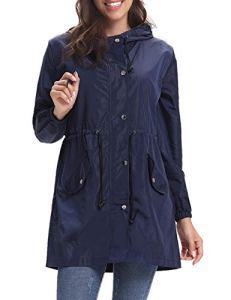 Aibrou Femme Manteau Imperméable Veste de Pluie Pliable Long Coupe-Vent à Manches Longues pour Sport Camping Randonnée, Marine, L