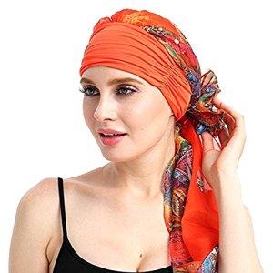 Amorar Chapeau de chimiothérapie, Mode Mousseline de Soie Chemo Foulard Chapeau Turban Foulards tête pré-attaché Cheveux Perte Chapeau élastique Headscarf Chapeau pour Le Cancer