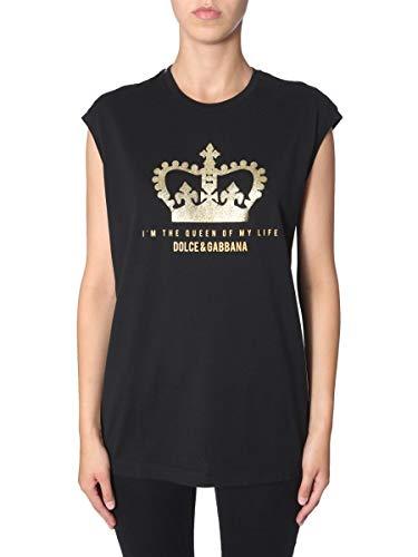 Dolce e Gabbana F8H93TG7TAVN0000 T-Shirt en Coton pour Femme Noir – Noir – 34 FR