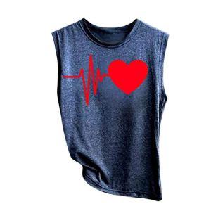 JUTOO T-Shirts à Manches Courtes Femme Mode Coeur Manches Courtes Loose Femmes T-Shirt imprimé décontracté O-Neck Top Bleu Foncé S