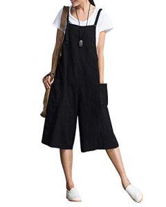 Kidsform Salopette Femme Été Casual Combinaisons de Playsuit avec Pantalon Coton Grande Taille Jumpsuit Fluide Large avec Poches D-Noir EU 44