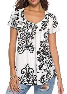 KISSMODA Tops Grande Taille pour Femmes Chemises décontractées Tunique Tops Ruffle White 2X
