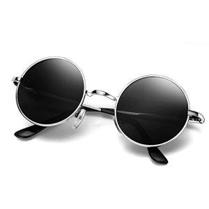 Menton Ezil John Lennon Lunettes de Soleil Polarisé Cercle Style Hippie Rond Petit Cru Pour hommes et femmes