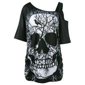 MERICAL T-Shirt en Coton avec tête de Mort, Style Femme et Manches Courtes (S, Noir-ZZ)