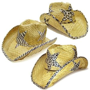 Modestone Value Pack 12 X Light Party Star Animal Print Straw Chapeaux Cowboys Beige