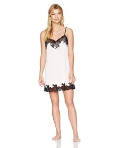 Natori Women's Enchant Solid Slinky Chemise with Lace, Blush Pink with Black, Small