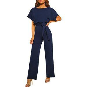 OverDose Soldes Combinaision Femme Manches Courtes Taille Haute, Ete Sexy Coupe Droite Slim Mode Pantalons Jumpsuit Clubwear Chic pour Soirée