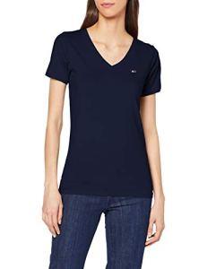 Tommy Jeans TJW Shortsleeve Stretch Tee T-Shirt, Bleu (Black Iris 002), S Femme