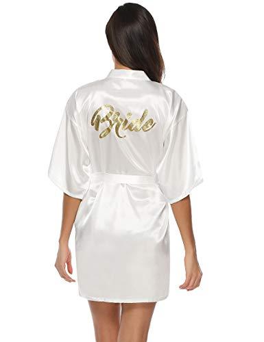 Abollria Robes de Chambre et Kimonos Robes de Mariée Femme Peignoir Satin Robes de Chambre Couleur Pure Vêtement de Nuit Sortie de Bain, Blanc-mariée, M