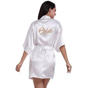 BOYANN Mariée Robes de Chambre et Kimonos Estampage à chaud Satin, Blanc M
