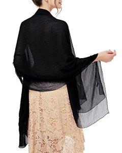 Bridesmay Foulard Étole Femme Printemps Eté en Mousseline Polyester pour Robe de Soirée Cocktail Cérémonie Anniversaire Bal Fête Black