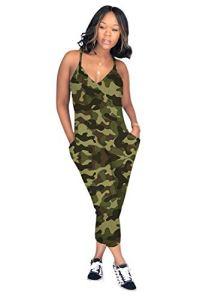 Femme Combinaison Militaire Camouflage Imprime Jumpsuit Hip Hop Style Boyfriend Salopette a Bretelle sans Manches Col V Dos Nu Casual Ample Harem Sarouel Pantalon Clubwear pour Vacances Soirée Plage