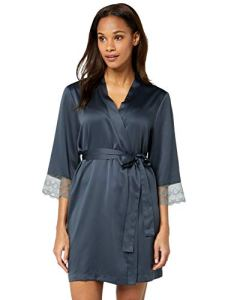 Iris & Lilly Amz19ssr03 Robe De Chambre, Gris (Dark Grey), 40 (Taille fabricant: Medium)