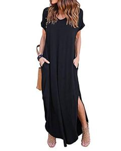 Kidsform Femme Robe ete Maxi Casual Manche Courte Col V Dress Plage Poche Tunique Longue, Noir, 44 EU (Fabricant: Taille XL)