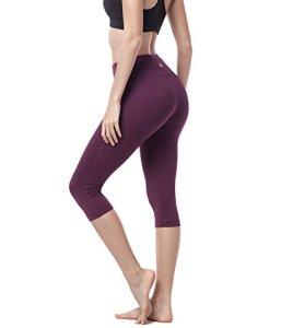 LAPASA Legging avec Poches Capri/Pantacourt de Sport Femme Coupe Genoux Amincissant – Yoga Fitness Jogging Gym L02 (44/XXL, 03. Bordeaux)