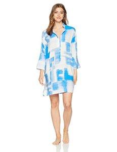 N Natori Women's Brushstroke GEO Sleepshirt, Ceramic Blue, L