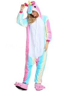 OKSakady Deguisement Combinaison Pijama Licorne Pyjama Adulte Enfant Unisexe Animaux Cosplay Costume Kigurumi Halloween Noel Party Soirée de Déguisement – Arc en Ciel – Taille S (Height 151-159cm)