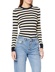 Tommy Hilfiger TH Essential Cable C-NK SWTR Pull, Bleu (Sky Captain Multi 901), S Femme