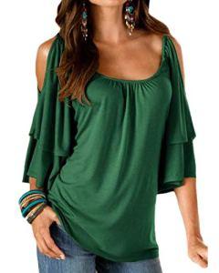 YOINS Tee-Shirt Femme Sexy Été Tops Manches Chauve-Souris Épaules Dénudées,A-vert,EU 40-42/Taille M