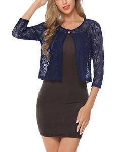 Boléro Femme Dentelle Chic Mariage Gilet Court Manche 3/4 Elégant Veste Ouverte pour Robe Bretelle Tee Shirt Vintage, Bleu Marine, XXL