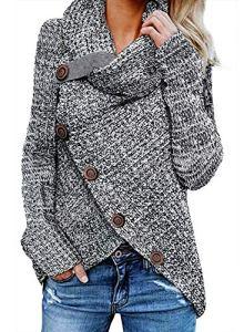 Dokotoo Chandail Femme Pull Tricot à Manche Longue Casual Col Roulé Sweater Asymétrique Tops Mode Boutonné Croisé Devant Veste Automne Hiver Décontracté S-XXL