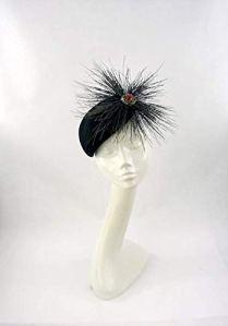 Eleda Hats Chapeau de crâne en Feutre de Laine pour Femme Noir